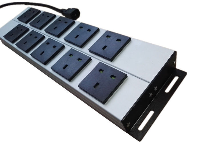 Mountable 10 Way Metal Power Strip , Multi Socket Extension Cord With Mounting Clips