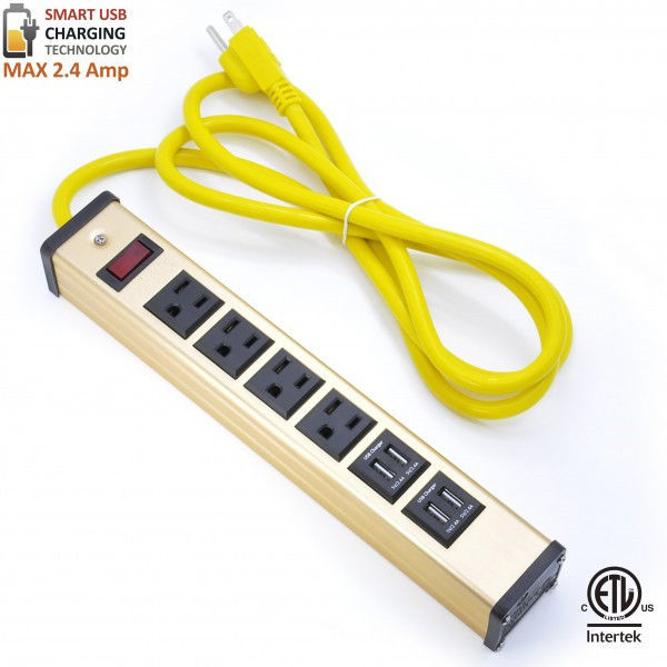 Multi Outlet Desktop Power Strip With USB , Slim Power Bar With USB Charger