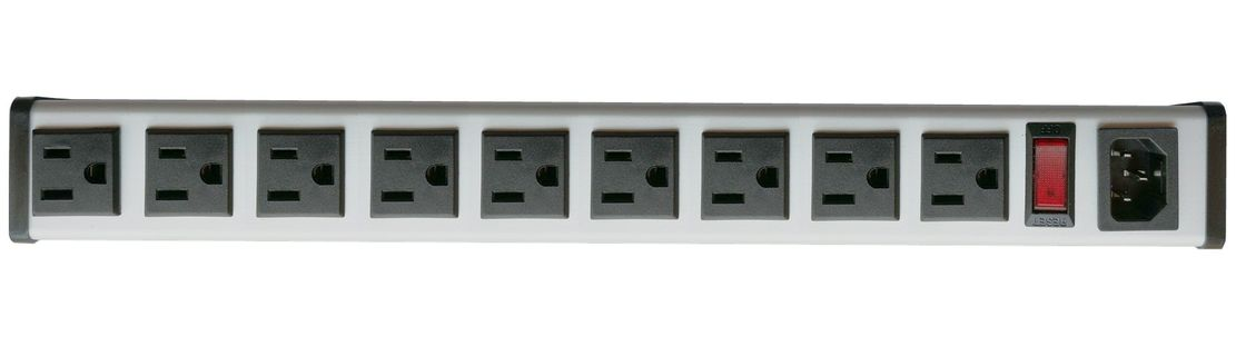 Rack Mount Indoor PDU Power Distribution Unit , 9 Outlet Heavy Duty Power Strip
