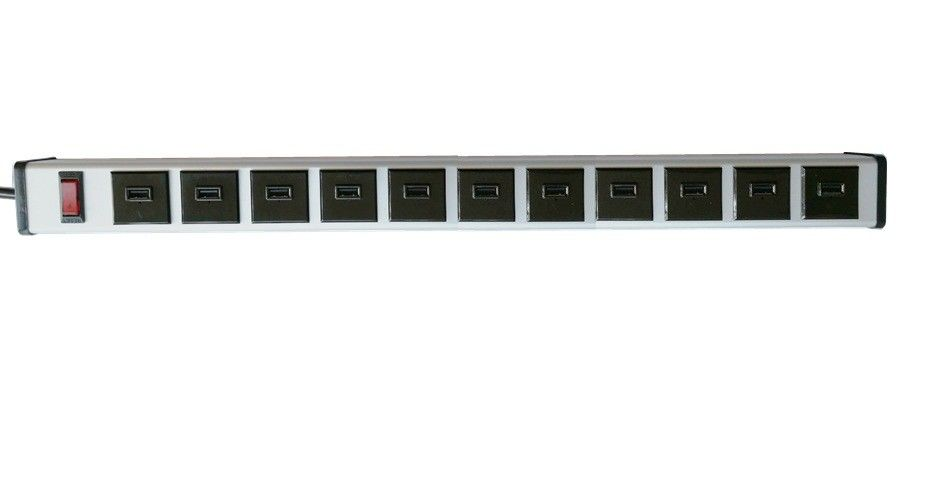 Multiple 11 USB Port Power Strip With Surge Protection For Home / Commercial Use