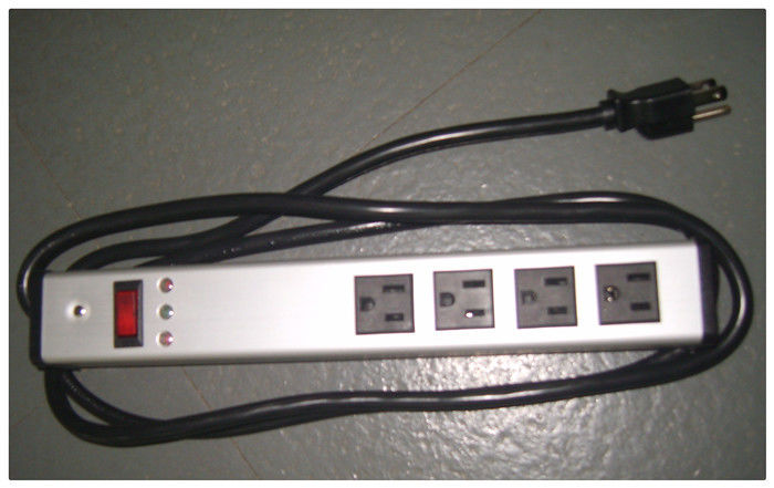 Mountable Multi Outlet Surge Protector Power Strip With Extension Cord / Metal Housing